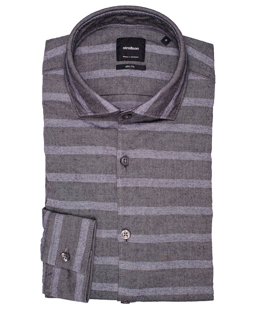 Shayne Mid Grey Milled Horizontal Stripe Sport Shirt