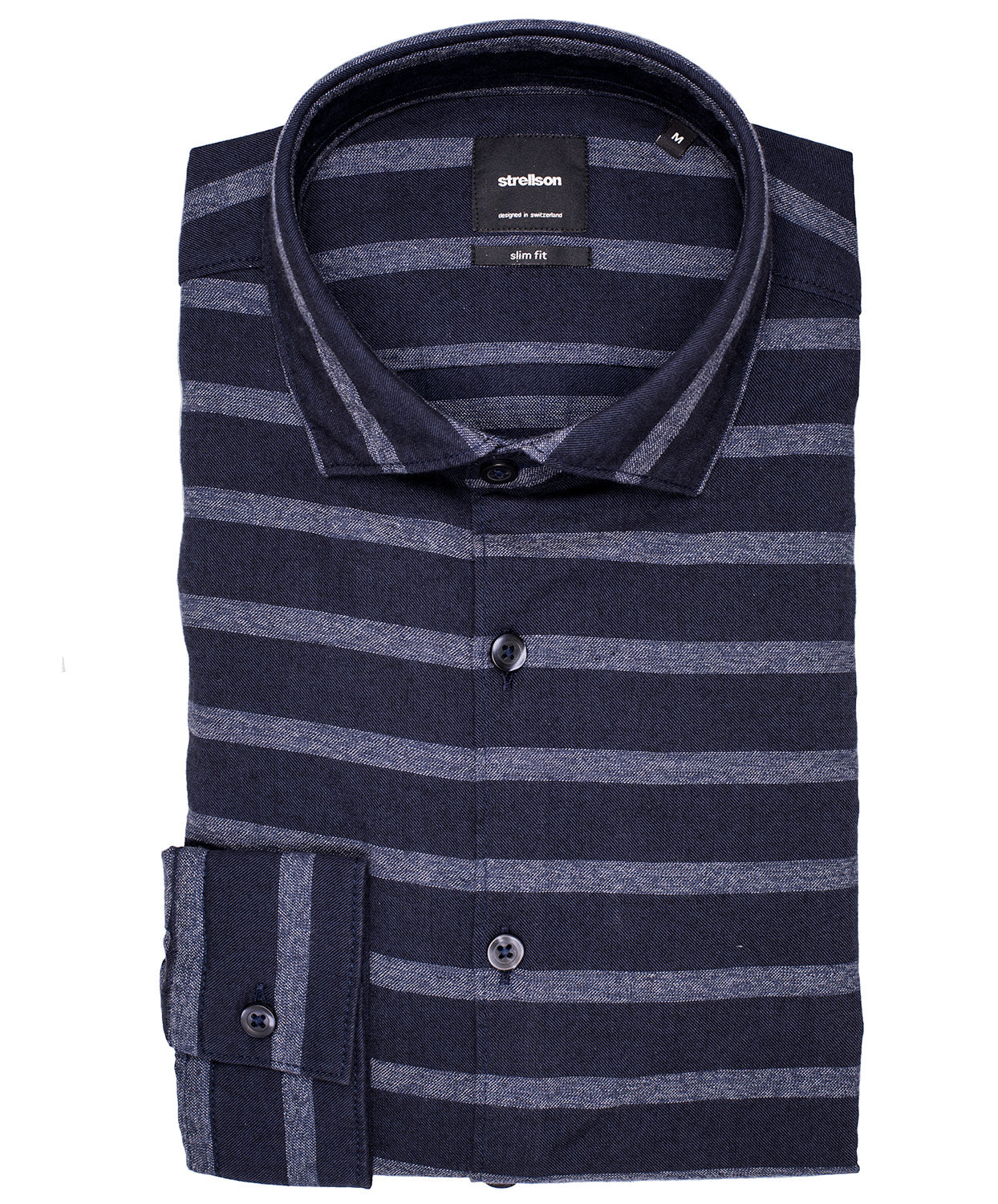 Shayne Dark Navy Milled Horizontal Stripe Sport Shirt
