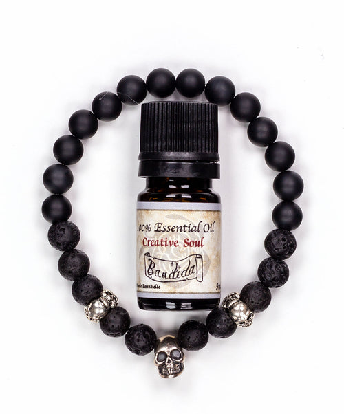 Three Silver Skulls Wristband & Essential Oil Set