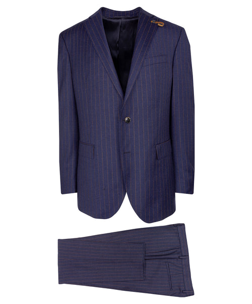 Slaydon/Smith Navy/Cognac Pinstripe Suit