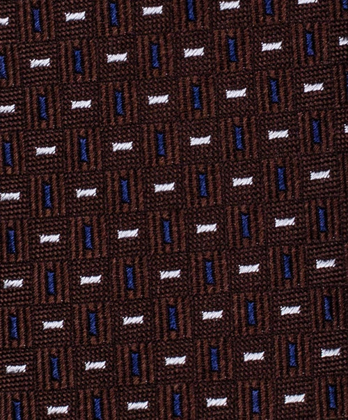 6.0cm Brown/Navy Small Bar Pattern Tie
