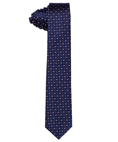 6.0cm Navy/Orange Small Bar Pattern Tie