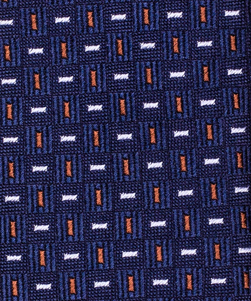 6.0cm Navy/Brown Small Bar Pattern Tie