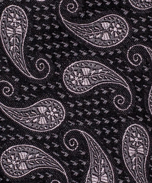 6.0cm Slate/Charcoal Woven Paisely Tie