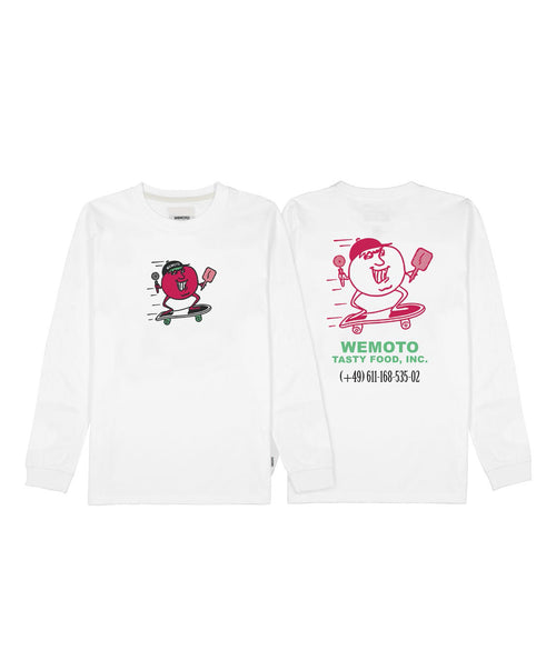 Tasty White Skateboarding Tasty Logo Long Sleeve Tee Shirt
