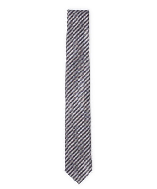 6.0cm Light Grey/Charcoal Diagonal Striped Contrast w Zig Zag Tie