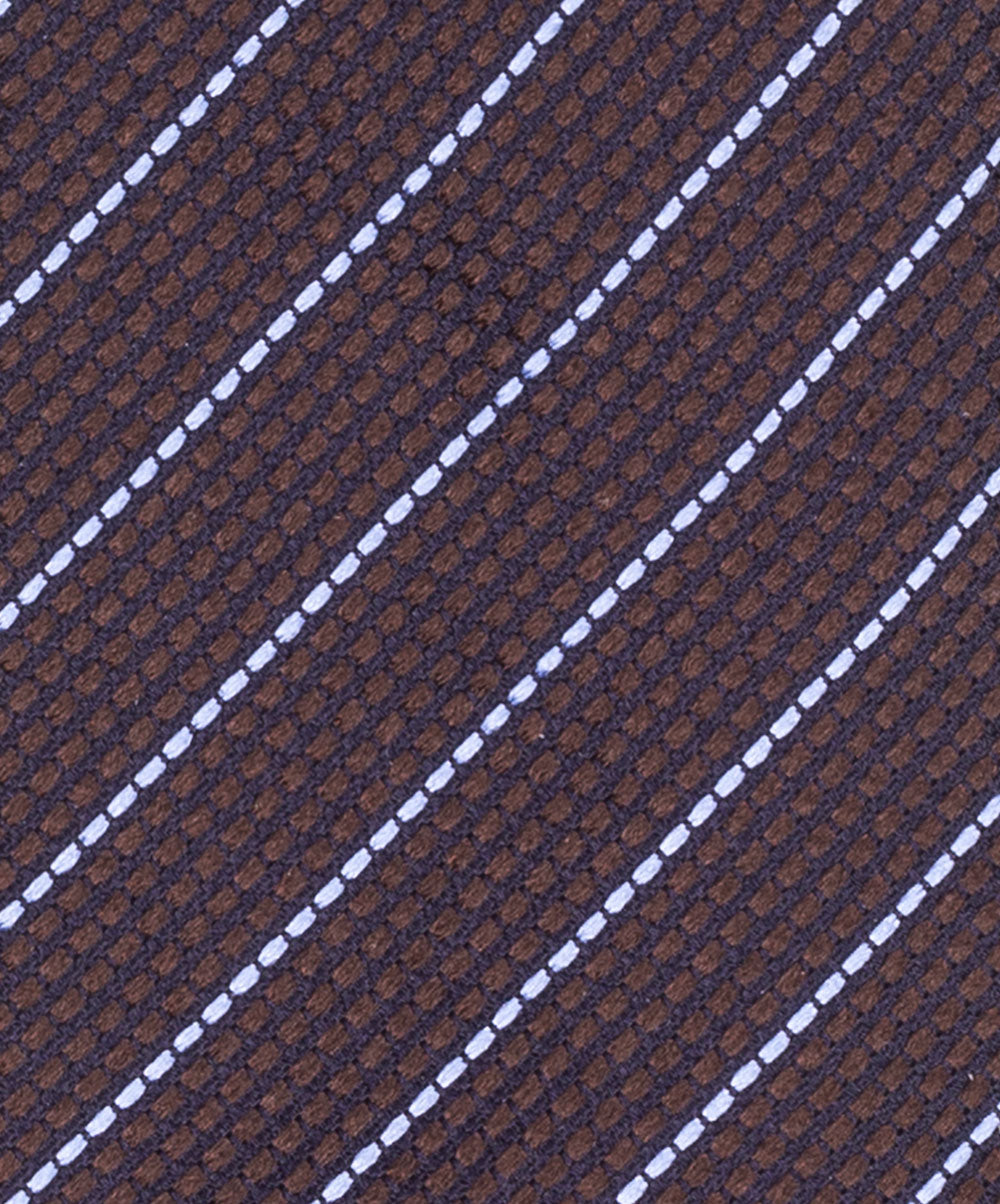 6.0cm Brown/White Pinstripe on Jacquard Tie