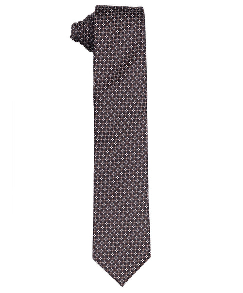 7.0cm Cognac/Black Small Repeat Clover Pattern Tie