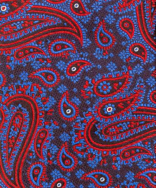 8.0cm Red/Blue/Brown Paisley Tie