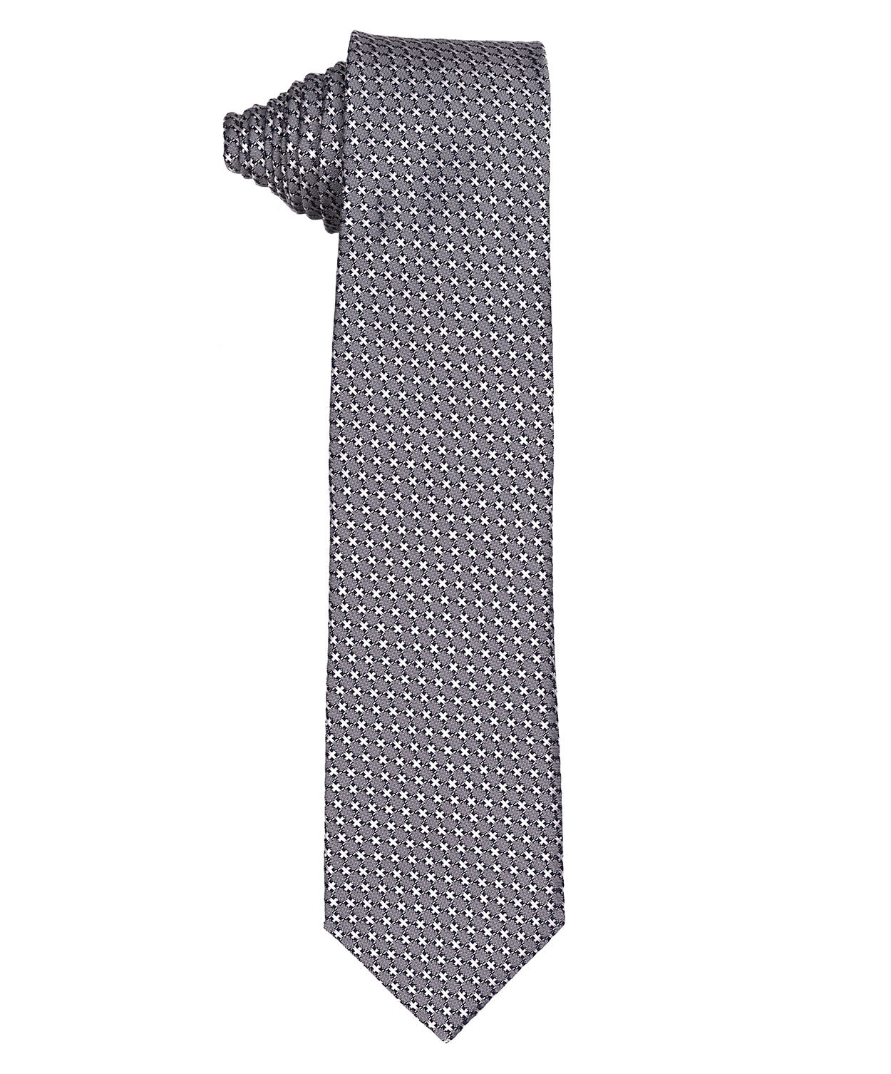 "8.0cm Slate Grey/White Mini ""X"" Pattern Tie"