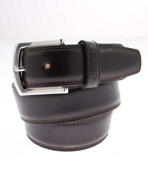Brown Edge Stitch Leisure Flexible Belt
