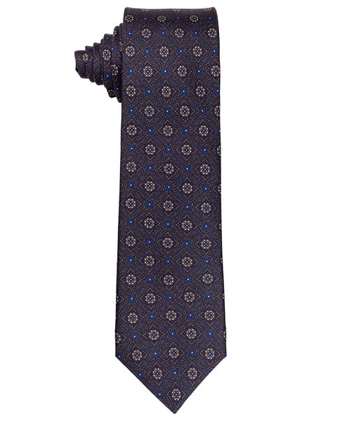 8.0cm Navy/Slate/White Woven Geometric Floral Pattern Tie
