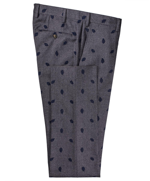 Grey/Navy Woven Leaf Dress Pant