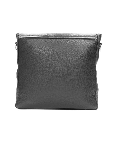 Black Pebbled Leather Messenger Bag