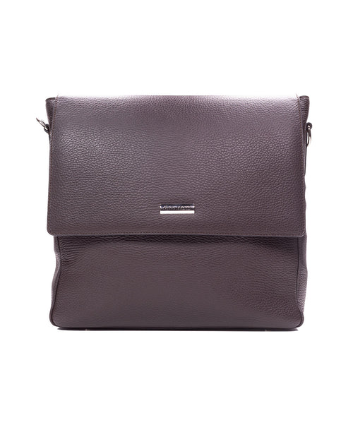 Dark Brown Pebbled Leather Messenger Bag