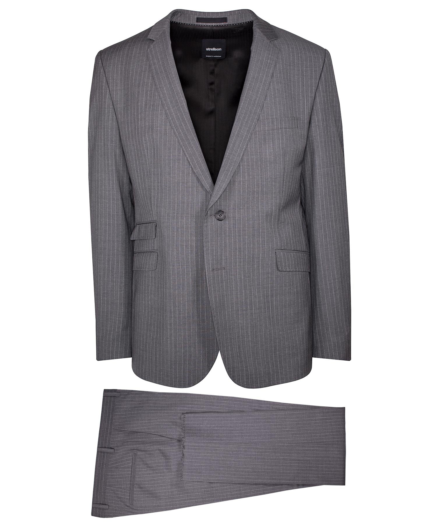 Vince-Madden Dark Grey Thin Faded Pinstripe Suit