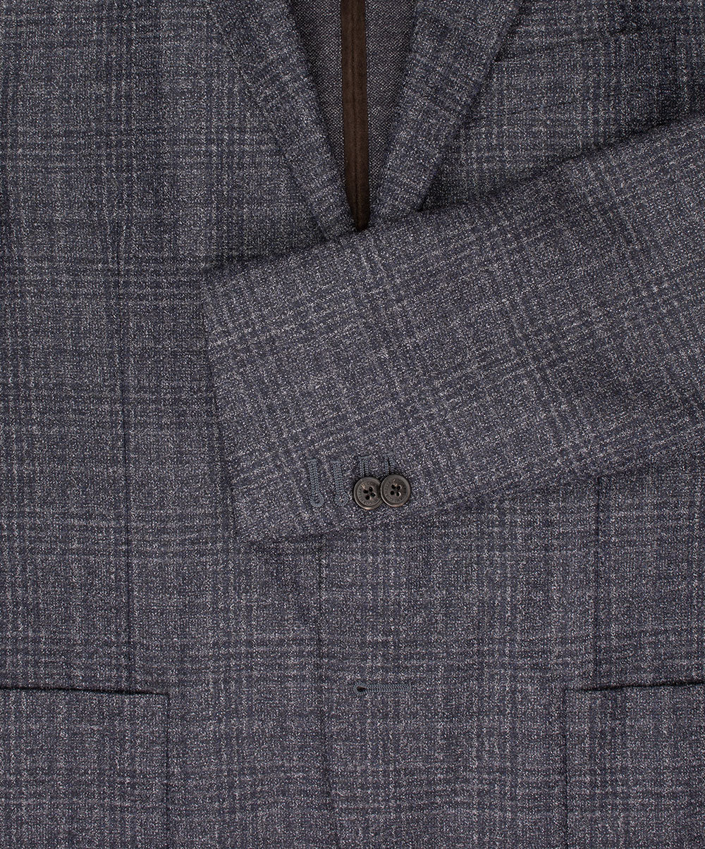 Charred Blue Blended Glen Check w Contrast Knit Hybrid