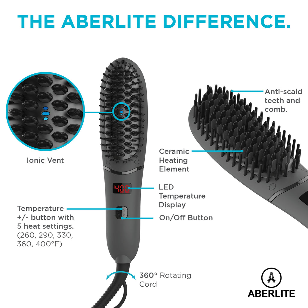 Aberlite Pocket - Compact Beard Straightener for Men - For All Beard Types - Beard Straightening Heat Brush Comb Ionic - For Home and Travel