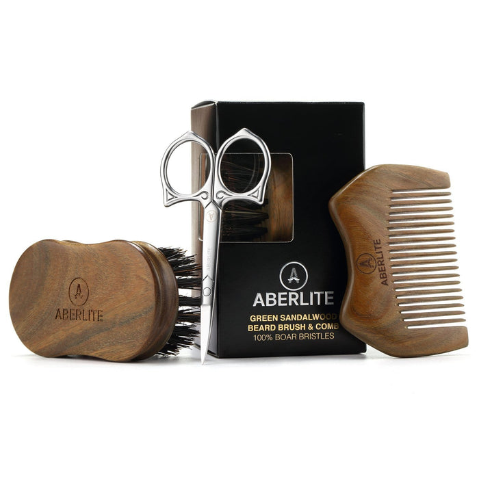 Aberlite Beard Straightening Brush Kit for Men - Beard Straightener Brush (Large) w/Extra-firm Boar Bristle - Sandalwood Beard Straightening Comb - Beard/Mustache Scissors