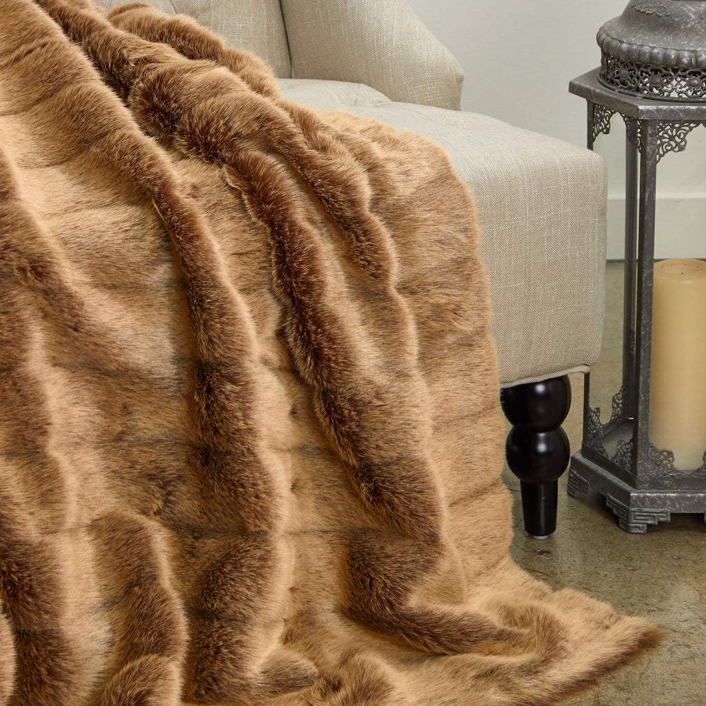 Frost Mink Light Brown Faux Fur Luxury Throw - Amaxeon