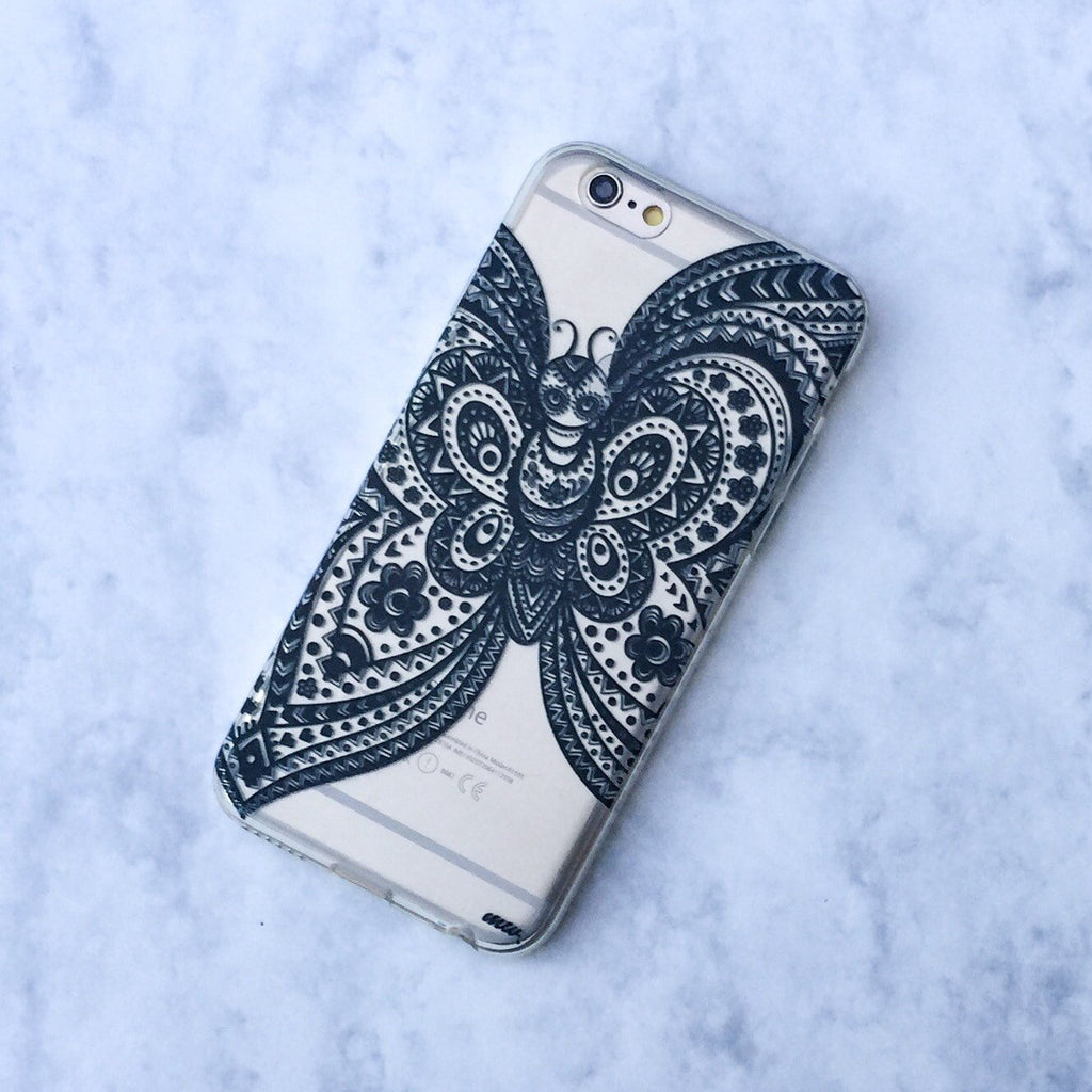 Henna Butterfly - Clear TPU Case Cover - Amaxeon