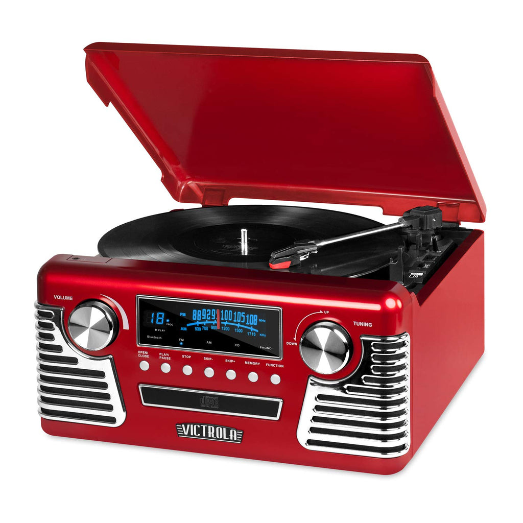 Victrola 50's Retro 3-Speed Bluetooth Turntable with Stereo, CD Player and Speakers, Red - Amaxeon