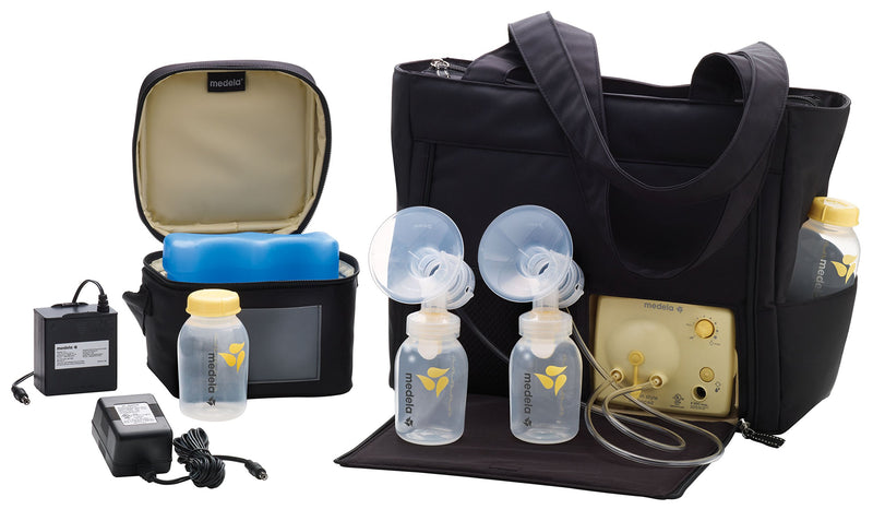 Medela Pump in Style Advanced with On the Go Tote, Double Electric Breast Pump, Nursing Breastfeeding Supplement, Portable Battery Pack, Sleek Microfiber Tote Bag included with Breastpump - Amaxeon