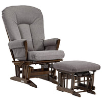 Dutailier Colonial Glider-Multi-Position Recline and Nursing Ottoman Combo, Dark Grey - Amaxeon