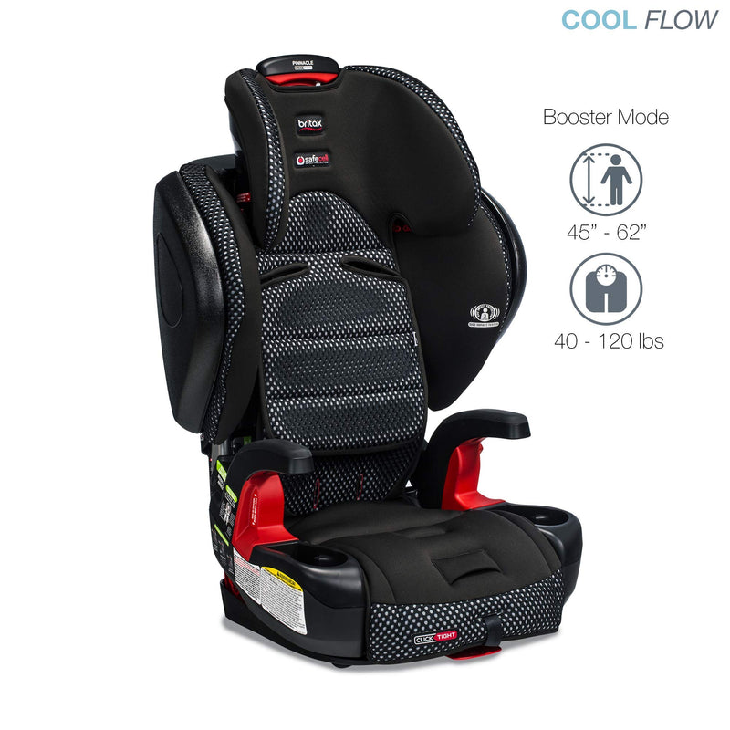 Britax Pinnacle ClickTight Harness-2-Booster Car Seat - 3 Layer Impact Protection - 25 to 120 Pounds - Cool Flow Ventilating Fabric, Grey - Amaxeon