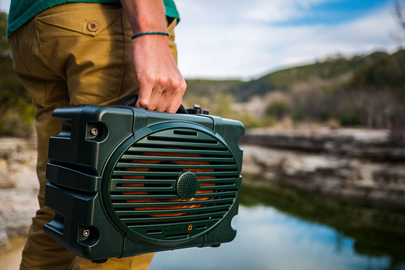 Turtlebox: LOUD! Outdoor Rugged Bluetooth Speaker ~ 50+ Hour Charge | IP67 Waterproof & Dustproof. Plays up to 120db. Pair 2x for True Stereo | Made for Hunting, Fishing, Sports, Camping, Boating, ATV -