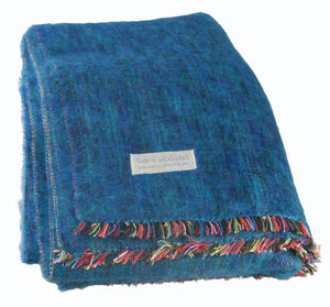 100% Alpaca Full Blanket in Ocean - Amaxeon