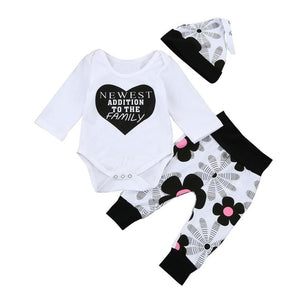 ARLONEET Baby Clothes Newborn Kids Baby Girls Outfits Clothes Letter Romper Tops+Floral Pants+Hat Set E30 Jan05 - Amaxeon