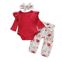 Floral Baby Girl Clothes Long Sleeve Autumn Winter Newborn Outfit For Girl Casual Flower Print Infant Girl Clothing Set D25 -