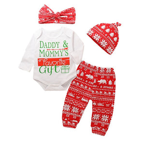 First Christmas Carters Baby Girl Clothes Set Autumn Clothing For Baby Floral Tops+comfortable Pants+Headband Rose Print D30 -