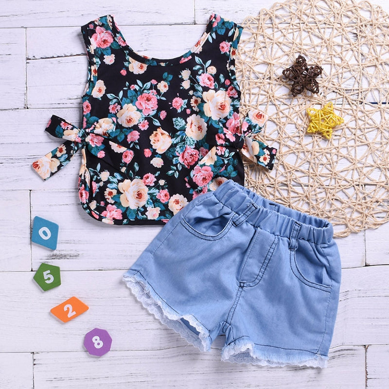 MUQGEW New Baby's Sets Girls Sleeveless Floral Print Tops+Lace Hole Denim Shorts Outfits baby girl clothes roupa infantil menina - Amaxeon