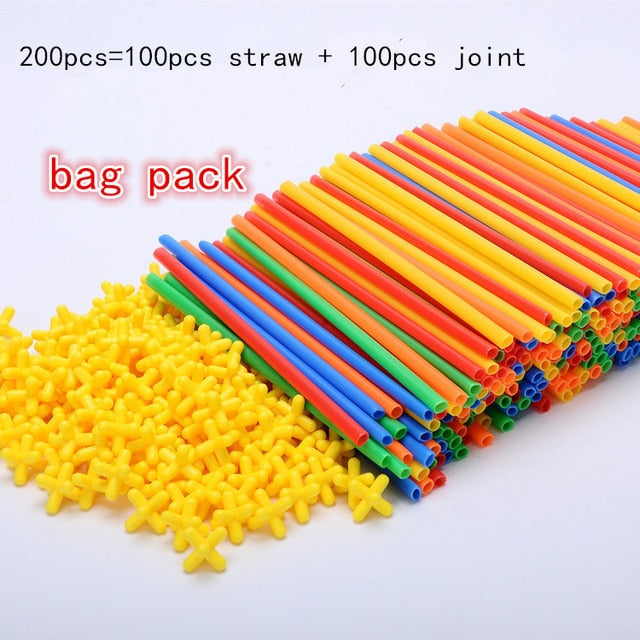 Magnetic Blocks Plastic Straw Educational Toy - Amaxeon