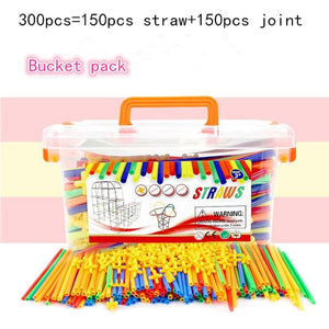 Magnetic Blocks Plastic Straw Educational Toy -