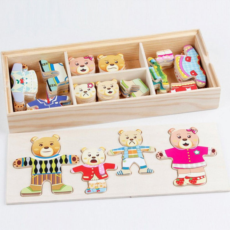 HOT Kids Bear Change Clothes Baby Toys Educational Building Blocks Early Childhood Wooden Jigsaw Building Blocks -