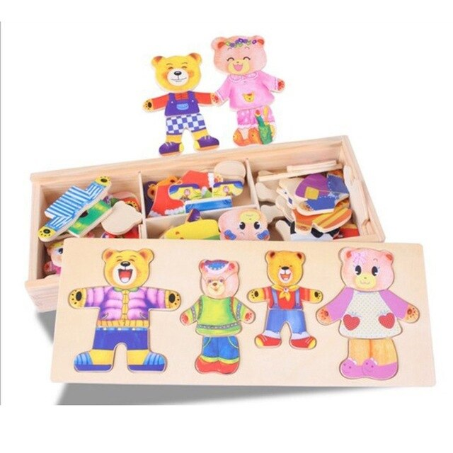 HOT Kids Bear Change Clothes Baby Toys Educational Building Blocks Early Childhood Wooden Jigsaw Building Blocks - Amaxeon