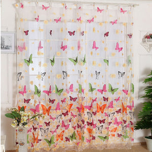 Butterfly Print Sheer Window Panel Curtains - Amaxeon