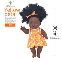African black baby doll reborn girl 12inch yellow boneca corpo inteiro de silicone reborn baby dolls pop lifelike  children - Amaxeon