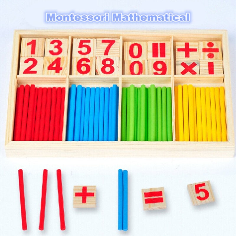 Drop shipping Hot Selling Baby Education Toys Wooden Counting Sticks Toys Montessori Mathematical Baby Gift Wooden Box -
