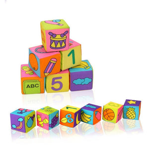 Early Educational 6Pcs Fabric Blocks Set of Cloth Cube Multifunctional Preschool Toys Cloth building blocks Baby rattle toy Soft - Amaxeon