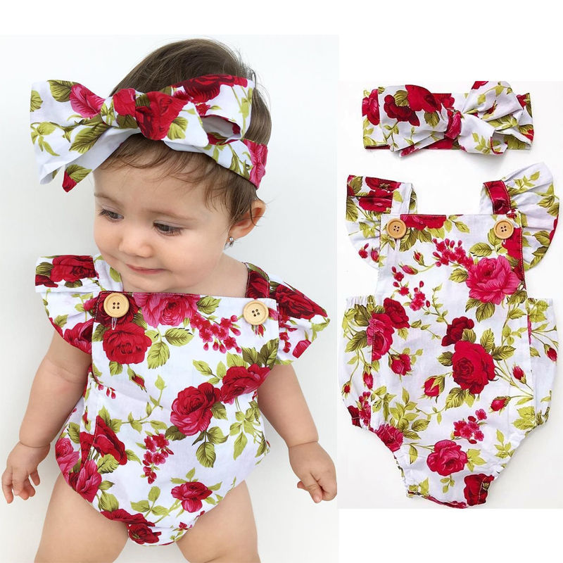 2018 Cute Floral Romper 2pcs Baby Girls Clothes Jumpsuit Romper+Headband 0-24M Age Ifant Toddler Newborn Outfits Set Hot Sale - Amaxeon