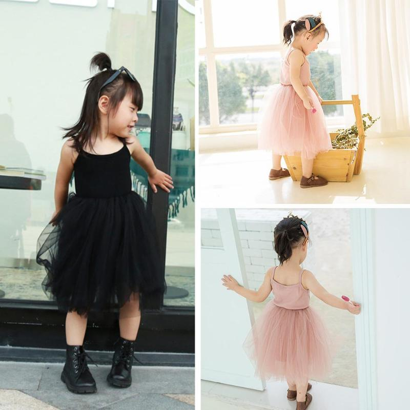 Baby Girls Summer Dress Girls Mesh Sling Sleeveless Cute Long Dress Solid Color Kids Tutu Princess Dress Kids Clothes -