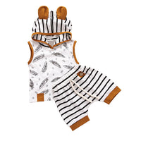 Newborn Baby Boy Hooded Feather T shirt Tops Striped Shorts Pants Clothes roupa infantil boutique kids clothing summer 2019 - Amaxeon