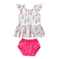 Summer Baby Girl Casual Flare Sleeve Cotton Tops Ice-cream Vest Briefs Shorts Outfits Set Beach Dress Clothes 2019 - Amaxeon