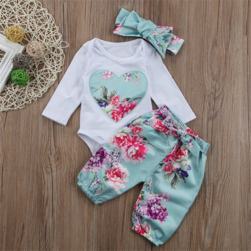OKLADY Newborn Baby Clothing Long Sleeves Baby Clothes Bow Pants Rose Bouquet Headband 3 Pieces Baby Clothes Set Floral Girl Set - Amaxeon