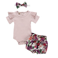 2019 New Newborn Children kids baby clothes set Outfits Clothes Romper Bodysuit+Flower Print Shorts clothing Set Tracksuit -