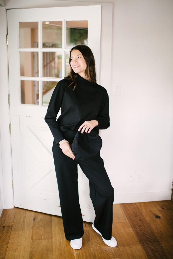 Black Audry Crew Neck Sweater and Skirt | Canadian Made Clothing | Smash + Tess Fall Collection